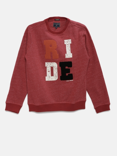 Indian Terrain Boys Red Self-Design Pullover Sweatshirt