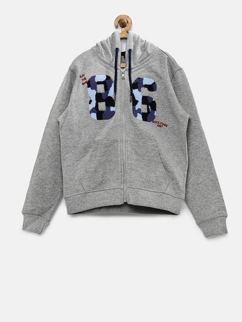 Indian Terrain Boys Grey Hooded Sweatshirt