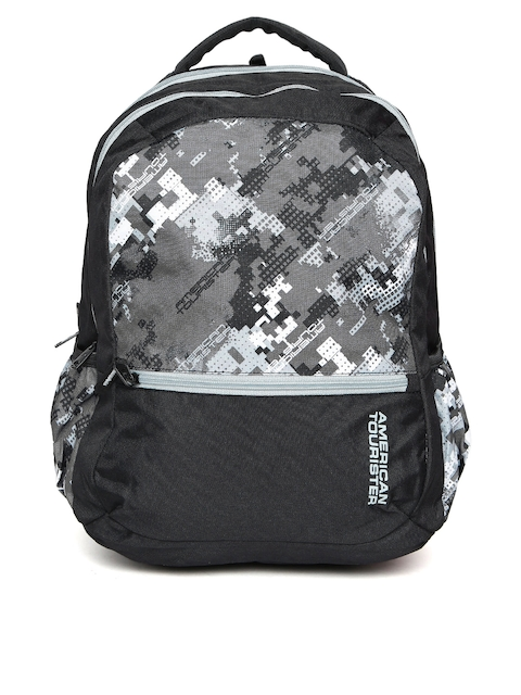 AMERICAN TOURISTER Unisex Black & Grey Printed Backpack