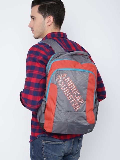 AMERICAN TOURISTER Unisex Grey & Orange Printed Backpack