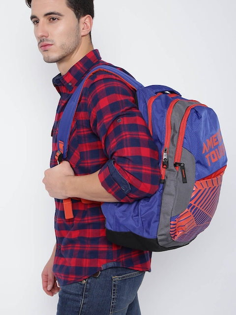 AMERICAN TOURISTER Unisex Blue & Orange Printed Backpack
