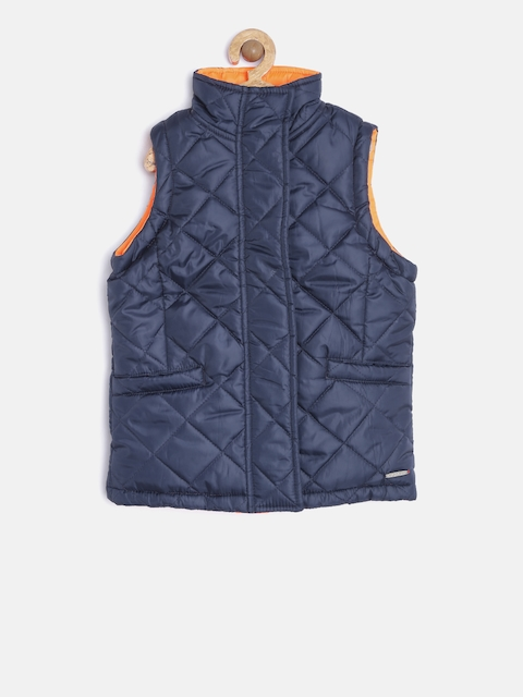 U.S. Polo Assn. Kids Girls Navy & Orange Quilted Reversible Jacket