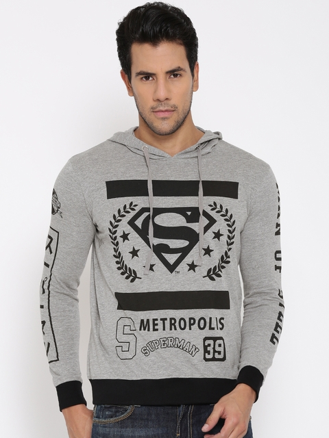 Superman Men Grey Melange Printed Hooded T-shirt