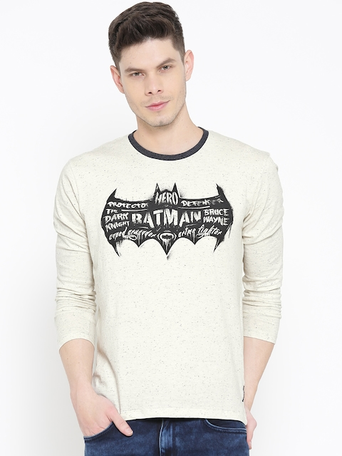 Batman by Free Authority Men Off-White Printed Round Neck T-shirt