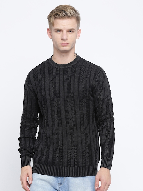Pepe Jeans Men Black Self-Design Pullover