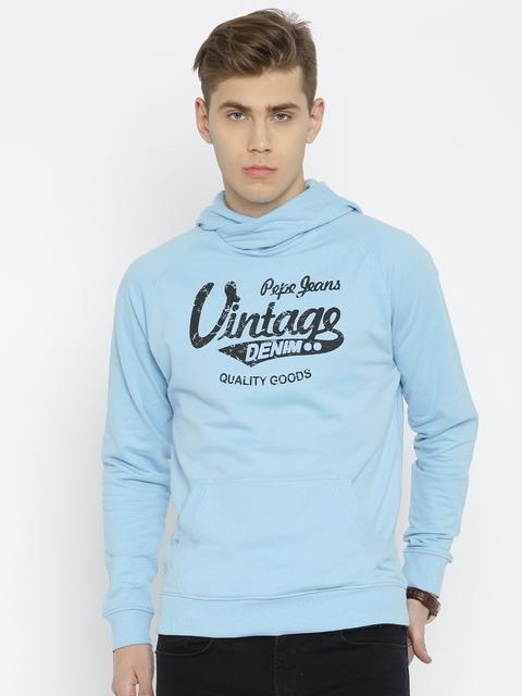 Pepe Jeans Blue Printed Hooded Sweatshirt