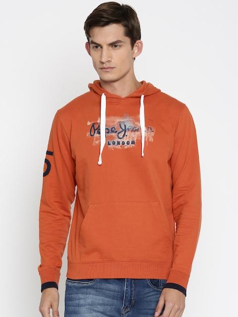 Pepe Jeans Rust Orange Printed Hooded Sweatshirt