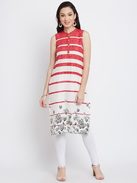 AURELIA Women White Striped Straight Kurta  available at myntra for Rs.479