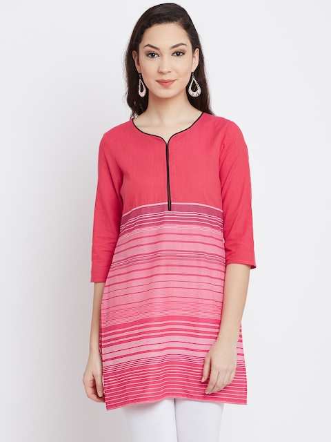 AURELIA Women Coral Pink Printed Straight Kurta  available at myntra for Rs.419