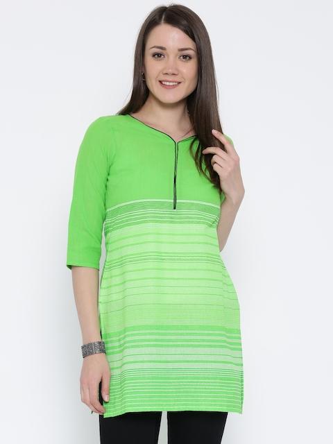 AURELIA Women Green Printed Straight Kurta  available at myntra for Rs.419