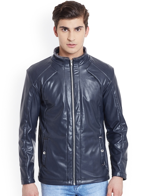 Canary London Coffee Navy Slim Fit Leather Biker Jacket