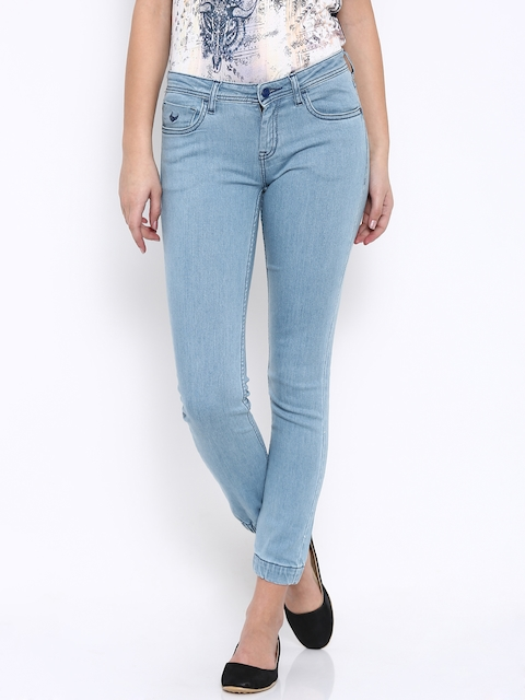 Flying Machine Women Blue Jogger Fit Mid-Rise Clean Look Jeans