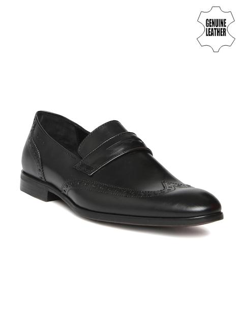 Ruosh Work Men Black Genuine Leather Semiformal Slip-Ons
