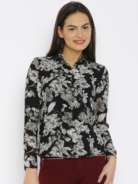 Van Heusen Woman Women Black Printed Casual Shirt