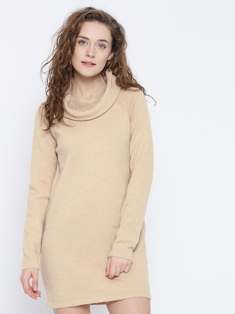 FOREVER 21 Women Beige Solid Sweater Dress