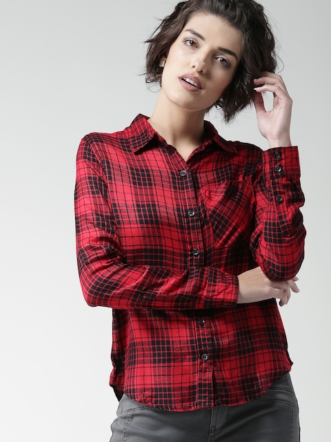 FOREVER 21 Women Red & Black Checked Casual Shirt