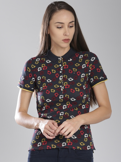 Tommy Hilfiger Women Navy Blue & Red Floral Print Polo T-Shirt