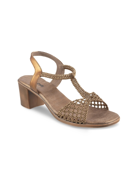 Mochi Women Gold-Toned Solid Heels