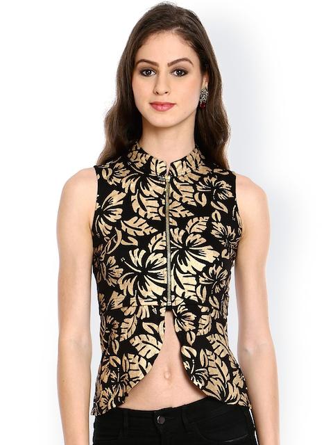 Ira Soleil Black & Gold-Toned Floral Print Crop Jacket