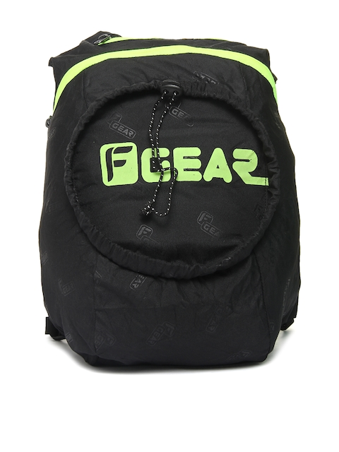 F Gear Unisex Black & Green Crest Foldable Backpack