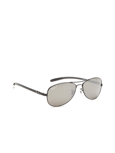 Ray-Ban Men Polarised Mirrored Oval Sunglasses 0RB8301002/K756-002/K7