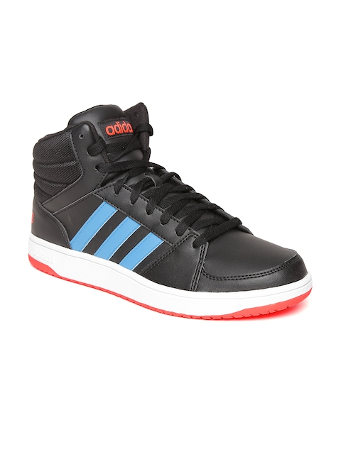 Adidas NEO Men Black HOOPS VS Solid Mid-Top Sneakers  available at myntra for Rs.1999
