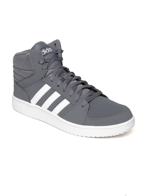 Adidas NEO Men Grey VS Hoops Solid Mid-Top Sneakers  available at myntra for Rs.1499