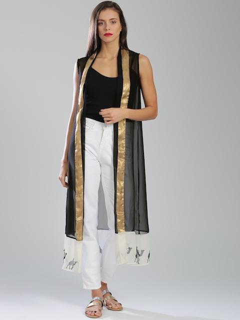W Black Sleeveless Front Open Longline Sheer Ethnic Jacket