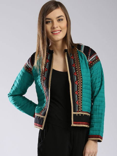 W Green Patterned Front Open Quilted Ethnic Jacket