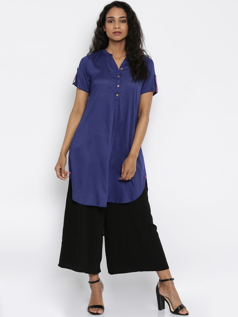 Global Desi Women Blue Woven Design A-Line Kurta  available at myntra for Rs.639