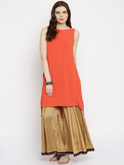 Global Desi Women Coral Orange A-Line Kurta  available at myntra for Rs.719