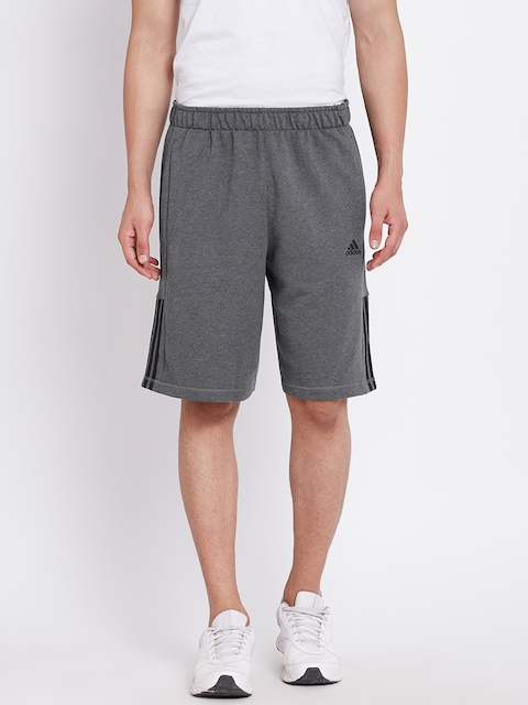 Adidas Men Charcoal Grey ESS Mid Sports Shorts  available at myntra for Rs.599
