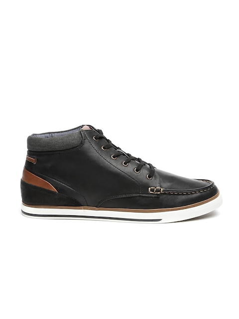 ALDO Men Black Solid Leather Mid-Top Sneakers
