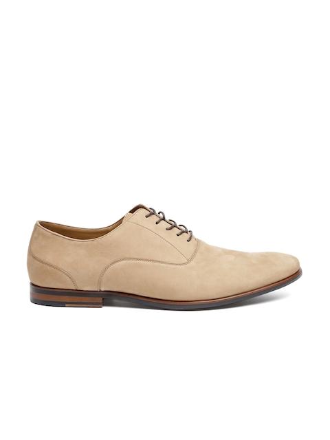 ALDO Men Beige Solid Regular Oxford Shoes