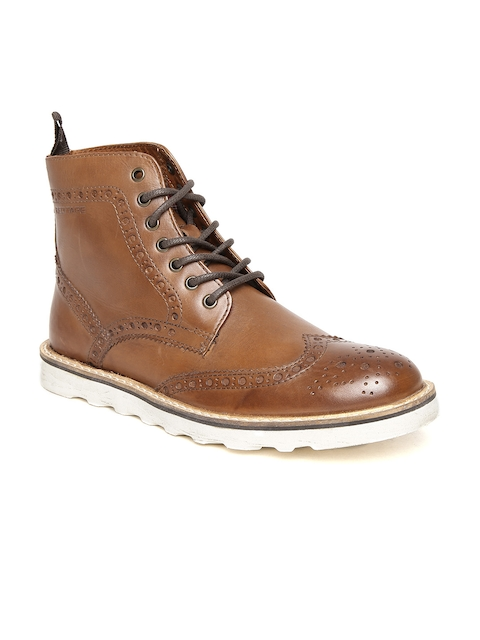 Red Tape Men Brown Solid Leather High-Top Flat Boots