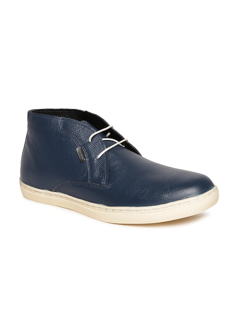 Red Tape Men Navy Solid Mid-Top Leather Casual Shoes
