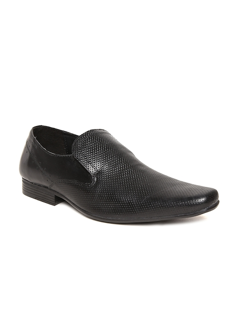 Red Tape Men Black Textured Leather Semiformal Slip-Ons