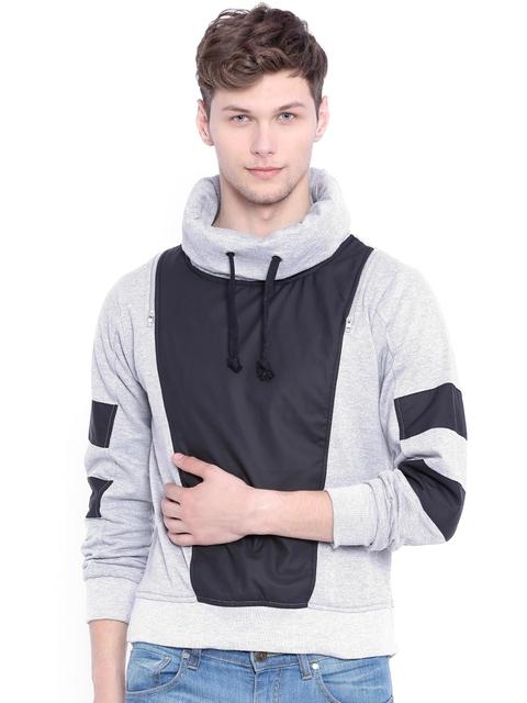 Campus Sutra Grey Colourblocked Sweatshirt