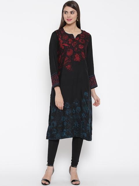 Biba Women Black Floral Print Straight Kurta