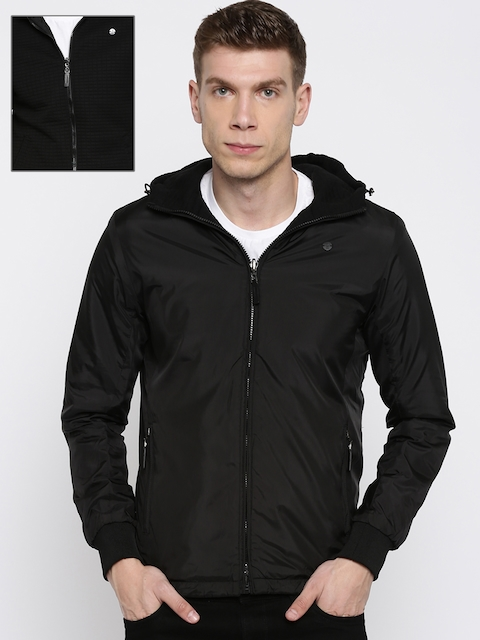 Peter England Casuals Men Black Solid Reversible Tailored Jacket