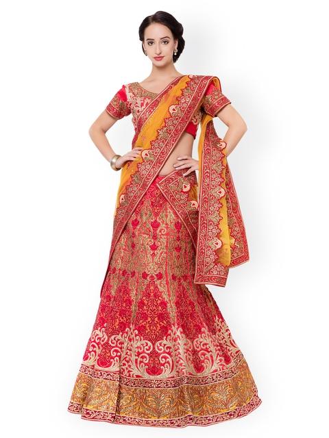 Triveni Orange & Red Embellished Silk Semi-Stitched Lehenga Choli with Dupatta