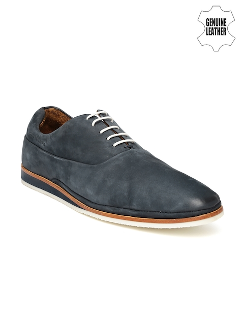 Louis Philippe Men Navy Solid Regular Derby Shoes