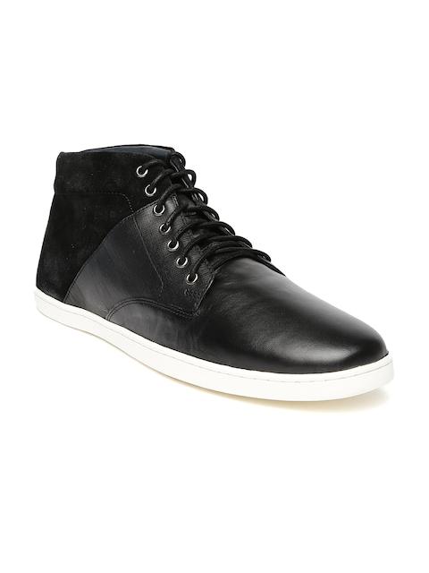 Louis Philippe Men Black Solid Mid-Top Sneakers