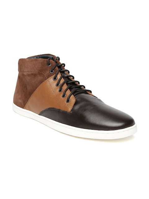 Louis Philippe Men Brown Colourblock Mid-Top Sneakers