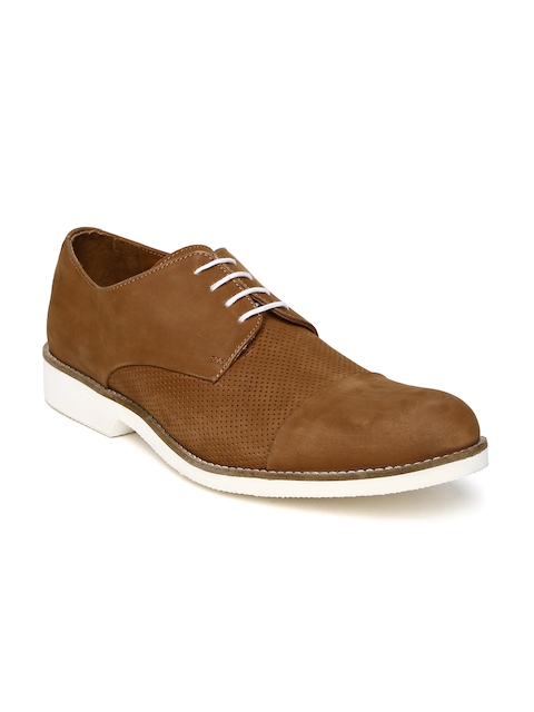 Louis Philippe Men Brown Perforated Leather Derbys