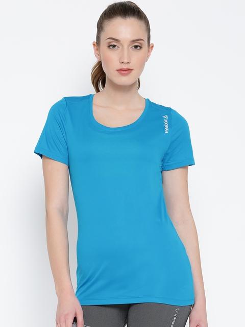 Reebok Women Blue RE SS Slim Solid Round Neck Running T-shirt