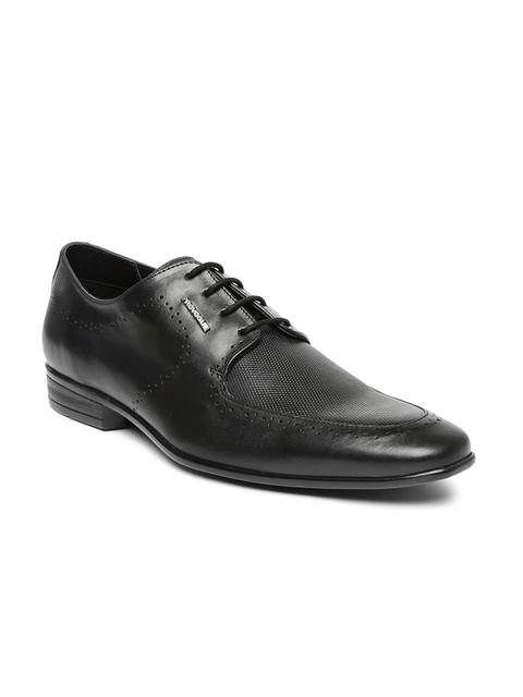 Provogue Men Black Textured Leather Brogues