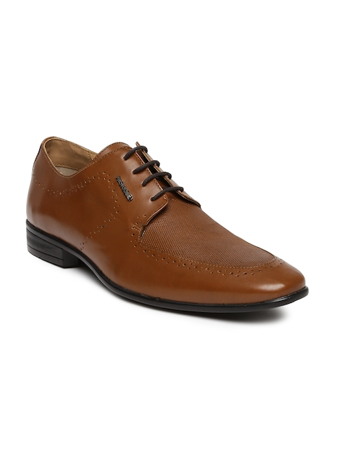 Provogue Men Brown Textured Leather Brogues