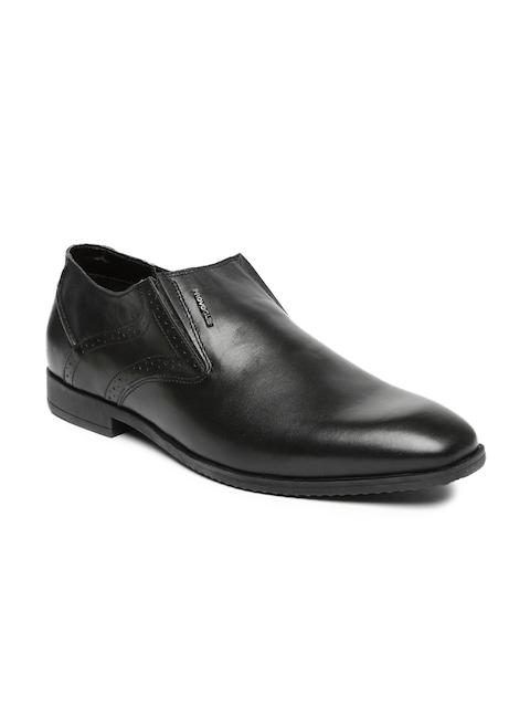 Provogue Men Black Leather Formal Slip-Ons