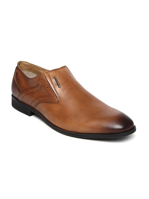 Provogue Men Brown Leather Semiformal Slip-Ons